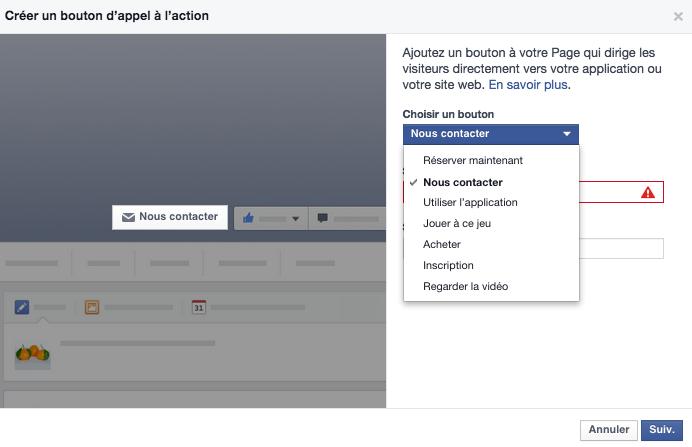 Facebook : activez votre bouton d'appel à l'action