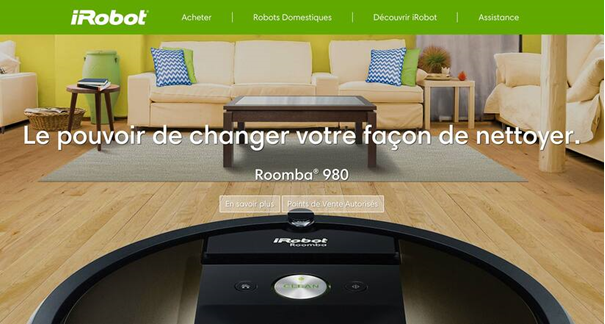 page accueil irobot